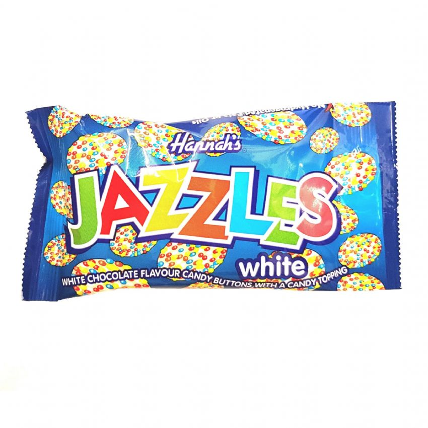 24 x White Chocolate Hannah's Jazzles Jazzies - Candy Buttons Sweets 40g - Wholesale Box